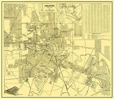 Old City Map - Houston Texas Street Guide - 1913 - 26.44 x 23