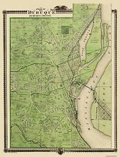 Old County Map - Dubuque Iowa Landowner - 1875 - 23 x 30
