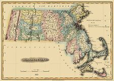 Old State Map - Massachusetts - Lucas 1823 - 32 x 23