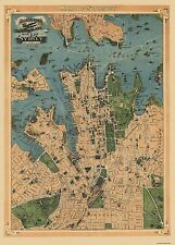 Old International Maps - SYDNEY AUSTRALIA AEROPLANE VIEW MAP 1922