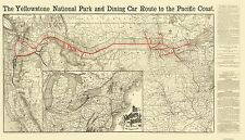 Old Railroad Map - Northern Pacific Railroad, Yellowstone Route 1897 - 40 x 23