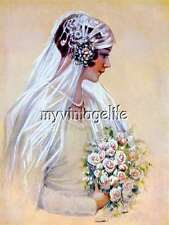 Vintage Bride with roses Quilting Fabric Block