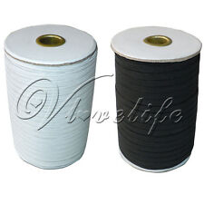 6mm ELASTIC 8 Cord Flat Corded Sewing Braided Roll 1/4 inch White Black Color