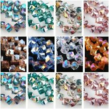 10pcs Colorized Plated Faceted Glass Crystal Bevel Cube Square Spacer Beads 10mm