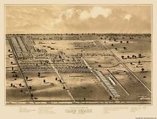 Civil War Map - Camp Chase By Columbus Ohio - FORBRIGER 1860s - 23 x 30.22