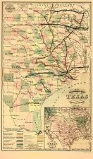 Old Railroad Map - Gray's Railroad Map Texas- 1877 - 23 x 39.16