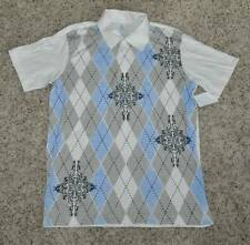 NWT $30-Mens Aces and Eights White & Blue Front Short Sleeve Polo Shirt-sz M & L