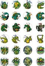 24x PRECUT TEENAGE MUTANT NINJA TURTLES RICE/WAFER PAPER CUP CAKE TOPPERS