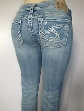 """Silver Jeans FRANCES 17"""" Low-Rise Straight Fit Slim Boot Cut Destroyed 60706A"""