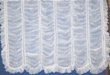 MILAN VOILE HOOK-UP FRILLED FESTOON NET CURTAIN PANEL IN WHITE AND CREAM