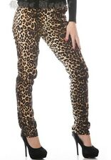 Women's Original Leopard Slim-Fit Skinny Fitted Trousers Jeans Goth Punk Emo