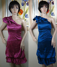 NWOT FAISCA one ruffle shoulder bubble gathered hem blue or wildberry dress S, M