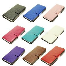 Luxury Hand stitch Leather Purse Wallet Card Case Cover for iphone 4S w/ Stand