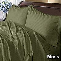 USA COMPLETE BEDDING COLLECTION 1000TC 100% EGYPTIAN COTTON MOSS STRIPE ALL SIZE