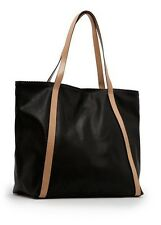 Authentic MANGO MNG Black Beige Leather Shopper School Handbag Tote Pouch Bag