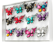 NEW CRYSTAL MULTI COLOR BUTTERFLY ADJUSTABLE RING ONE SIZE 5 6 7 8 9 10