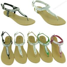 New Women Sandal Flats Rhinestone Style Gladiator Fashion Thongs Bling Sandals