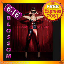 F60 Harlequin Harley Quinn Jester Masquerade Mardi Gras Fancy Dress Up Costume