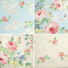 "1 Fat Quarter -22""x18""- 100% Cotton Fabric Pink Blue Floral Pattern Sewing c-257"