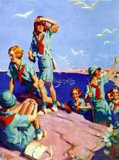 Vintage Girl Scouts at the Sea side Quilting Fabric Block