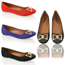 WOMENS LADIES FAUX SUEDE GOLD TRIM FLAT CASUAL OFFICE LOAFER PUMPS SHOES SIZE
