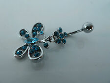 Belly ring Dangle Bar, 316L Surgical/CZ (Blue/Pink/Clear) Body jewelry/Piercing.
