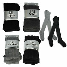 GIRLS i2i COTTON RICH CABLE / PLAIN KNIT TIGHTS  AGE- 2-3, 3-4, 5-6, 7-8, 9-10