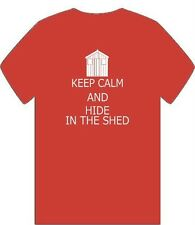"""""""KEEP CALM AND HIDE IN THE SHED"""" CAR BIKE MOTORCYCLE CLASSIC MENS T SHIRT S-3XL"""