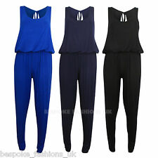 New Women's Jumpsuit Playsuit  Ruched Cuffs Elasticated Puffball Waist  SM & ML