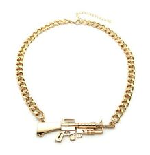 Hip Hop Shiny Colors Machine Gun Pendant Link Chain Necklace XC487