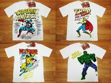 Marvel Heroes The Avengers Boy Kid White Cotton T-Shirt Size 4-10 age 3-10