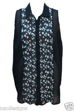 WOMENS BUTTON FASTENING SLEEVELESS FRONT BACK PANEL MULTI PRINT BLACK COLLARD