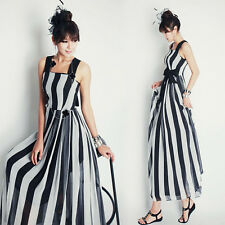Women Striped High Waist Chiffon Summer Casual Zipper Tie Shift Maxi Dress Slip