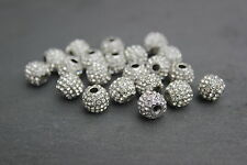 10mm Silver Plated Pave Crystal Bead for Shamballa Bracelets & Jewellery Making