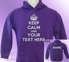 Purple Hoodie KEEP CALM PERSONALISED TEXT and NAME girls toddler kids baby hoody