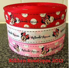 "MINNIE MOUSE 1"" GROSGRAIN RIBBON WHITE PINK RED LILAC"