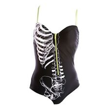 Iron Fist Caged Zipper Rib Cage Skeleton One Piece Swimming Costume NEW UK S-XL