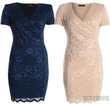 New Womens Plus Size V Front Lace Wrap Padded Shoulder Dress