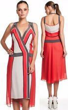 BCBG Max Azria Runway Brenda Dress Chalk Grey Sleeveles Color-Block Silk Chiffon