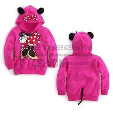 Girls Baby Minnie Mouse Costume Hoodie Top 3D Ear &Tail Coat Sweater 2T 3T 4T 5T
