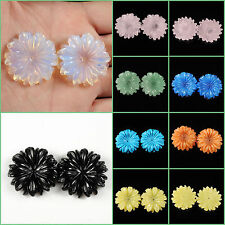 Carved gemstone flatback flower center drilled bead 30mm 1.2""