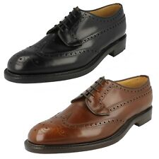 MENS LOAKE BLACK LEATHER FULL BROGUE FORMAL SMART LACE UP WORK SHOES BRAEMAR