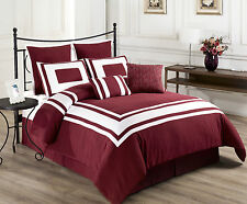 Lux Décor  Burgundy 8pc Comforter Set, White Stripe, FULL, QUEEN, KING, CAL-KING
