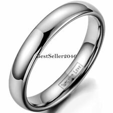 4MM Mens Ladies Ring Silver Tungsten Carbide Plain Dome Wedding Band Size 5 - 12