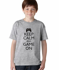 Kid's Keep Calm and Game On Funny T-Shirt Boy's Video Game Computer Geek Tee