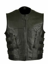 Mens leather regulator style vest zip out armor motorcycle swat style club vest