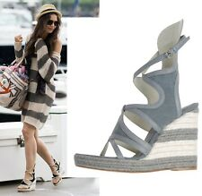 BALENCIAGA SHOES ESPADRILLE WEDGE GLADIATOR SANDALS CANVAS