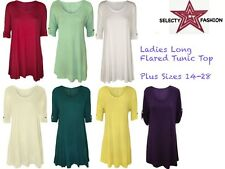 New Ladies Long Flared Womens Tunic Top Scoop Neck 3/4 Sleeves Plus Sizes 14-28