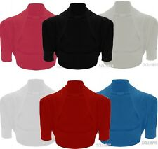 New Ladies Plus Size Plain Short Sleeve Bolero Shrug Cardigan Top