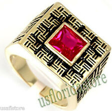 Mens Square Princess Cut Ruby Red Stone 18kt Gold EP Ring